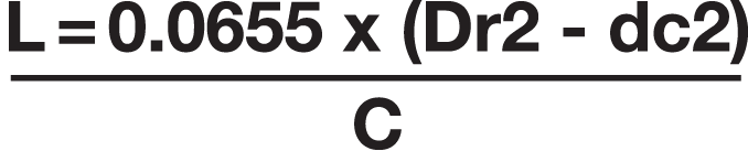 Graphic of a Mathematical formula. L = 0.0655 x (Dr2 - dc2) over C
