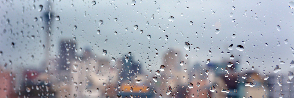 Image of raindrops on a window.