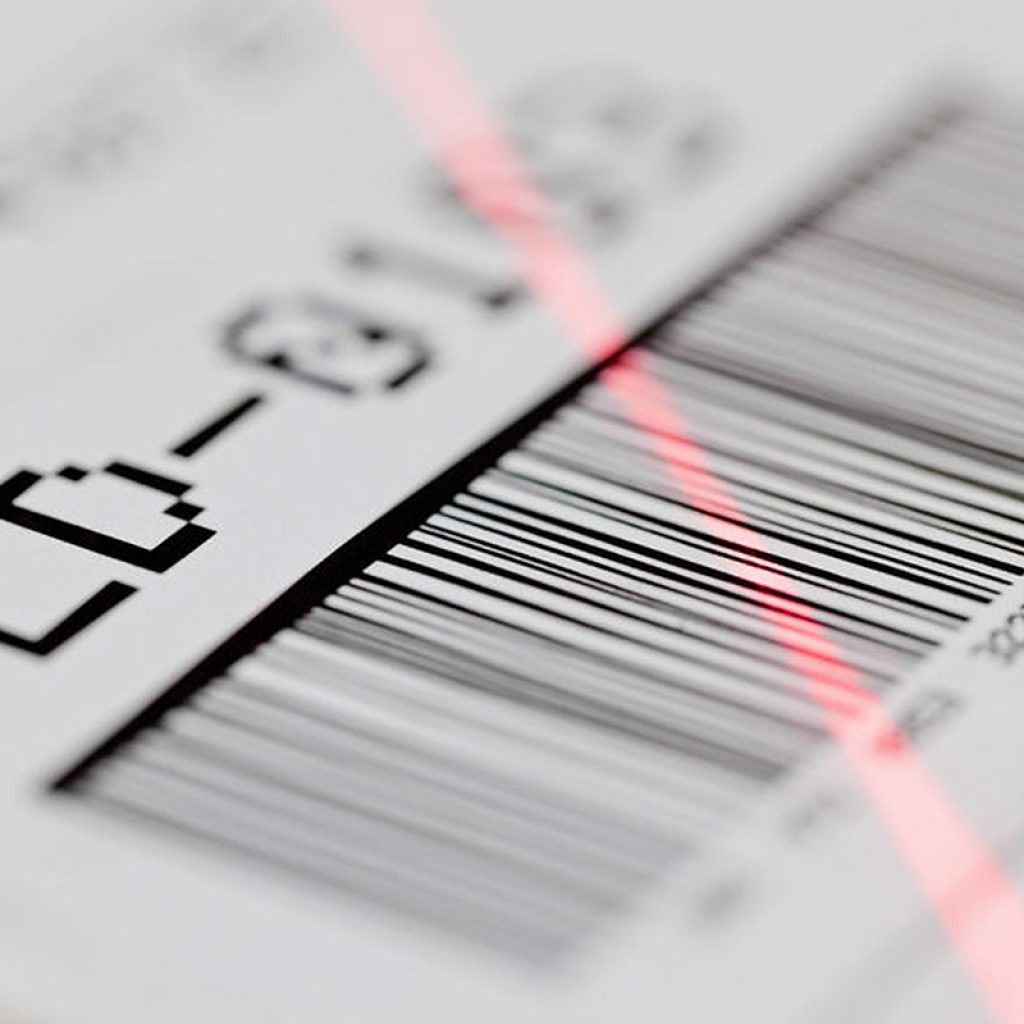 Close up image of a barcode.