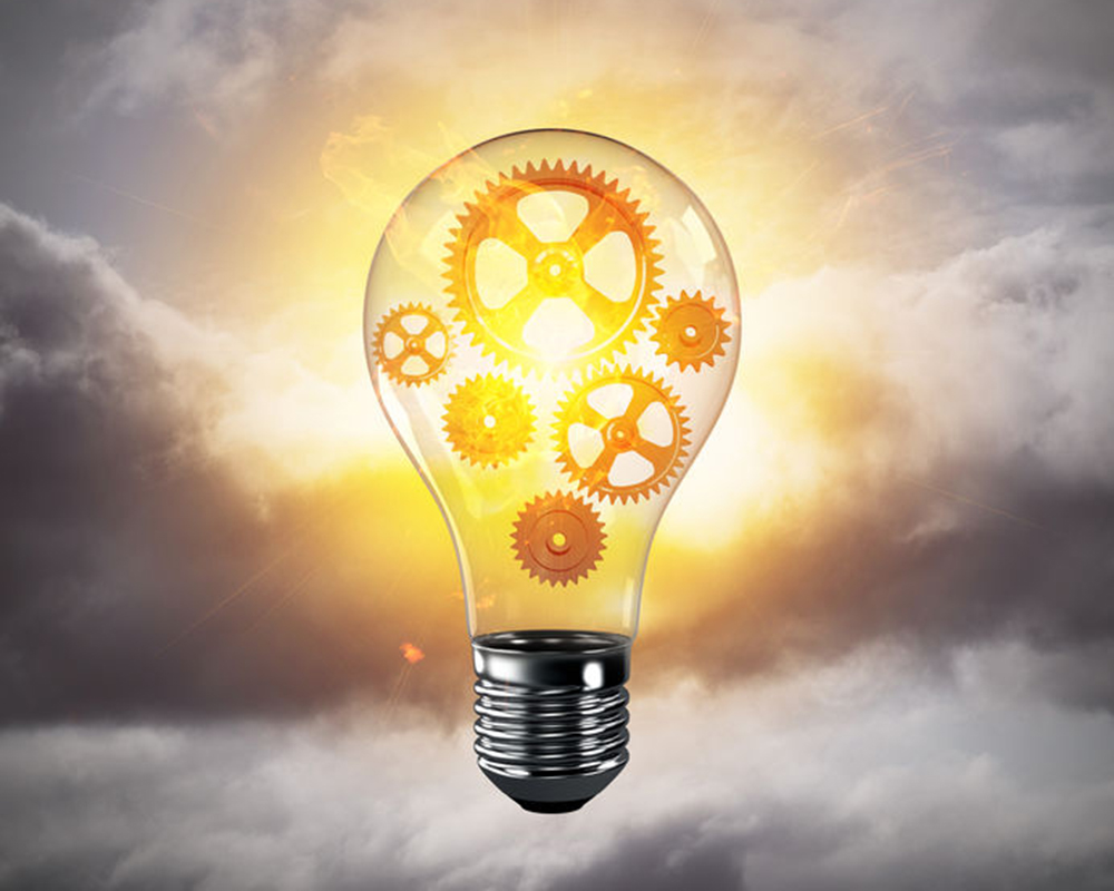 Abstract manufacturing and ideas light bulb photo.